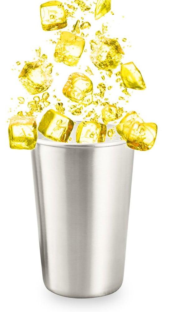 Produits inox: verre en inox gris avec des glaçons jaunes au dessus